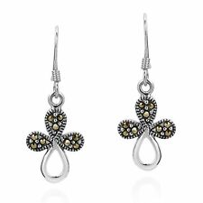 Modern Marcasite Flora Cross Sterling Silver Dangle Earings