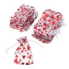 Lot de 100 Pièces Sachet de Bonbons en Organza Motif Coeur Amour avec