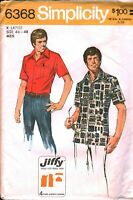 6368 Vintage Simplicity SEWING Pattern Mens Top Stitched Shirt Jiffy 1970s UNCUT
