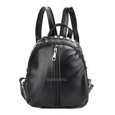 Women's PU Leather Mini Small Rivet Drawstring Backpack Rucksack Cute Bag Purse