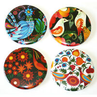 Russian Birds Folk Art Fridge Magnets Set 55mm 4pc Kitchen Decor Gift