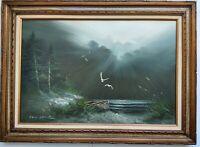 "Vintage Philip Sandee Signed Landscape Oil Painting on Canvas 43-3/4""x 31-3/4"""