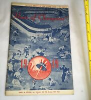 Vintage 1949 Yankees vs. St. Louis Browns Program Scorecard MLB Memorabilia