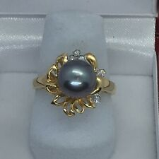 14k Gold Ring With 8.7mm Black Pearl And 5 Diamonds