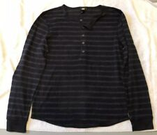 H&M Knitted Black Striped Henley Jumper, Size L