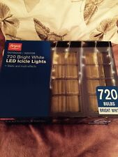 720 BRIGHT WHITE LED ICICLE LIGHTS STATIC & MULTI-EFFECTS BNIB