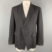 ALEXANDER MCQUEEN Size 42 Black Linen Notch Lapel Hidden Button Sport Coat