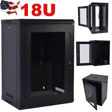 18U Network Server Data Cabinet Wall Mount Enclosure Rack Glass Door Lock w/ Fan