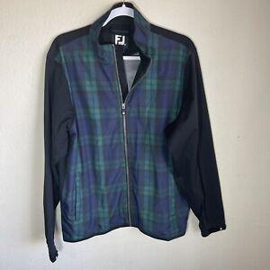 Footjoy Tartan Plaid Long Sleeve Full Zip Polyester Golf Jacket Mens Small EUC