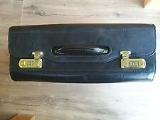 VINTAGE PILOTS MAP BRIEF FLIGHT CASE, combination lock, genuine black leather