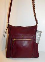 New Elliot Lucca Cabernet Burgundy Leather Crossbody Bag