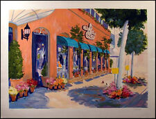 "D. Spangler ""Cafe Rodeo"" Serigraph Art Print Hand Signed & # damaged  L@@K!"