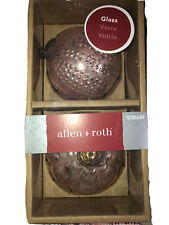 Allen & Roth Antique Pink Heavyweight Christmas Ornaments ONE PKG of 2 Brass