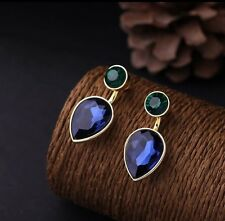 Fashion Chic Blue Green Diamante Crystal Statement Earrings Studs Drops Detach