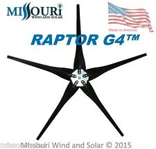 5 BLACK Raptor Series Blades™ and Hub for Wind Turbine Generators Made in USA