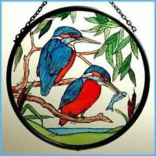 Decorative Winged Heart Hand Painted Stained Glass Roundel - Kingfisher