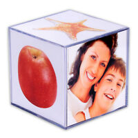 Fotowürfel aus Acryl für 6 Fotos 9 x 9 cm Bilderrahmen Bilderhalter Bilderwürfel