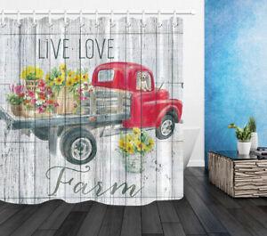 "Farm Red Truck Flowers Sunflowers Fabric Shower Curtain Set Bathroom Decor 71"""
