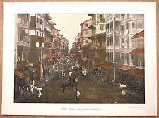 RUE DANS LA FORTERESSE À BOMBAY Inde Mumbai - Photochromie fin 19ème  gravure