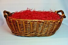Gift Basket Supplies Large Oval Wicker Wood Handles 6x12x18.5 Ready To Fill !