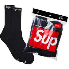 SUPREME X HANES Cushion Crew Socks One (1) Single Pair Black Size 6-12