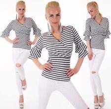 Sexy  Shirt Pullover Pulli V Ausschnitt Trompetenärmel Schwarz Weiß 34 36 38