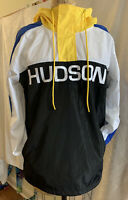 Hudson 1/4 Zip Pullover Rain Jacket / Windbreaker w/ Hood Embroidered Sz Large