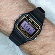 Genuine Casio F91W Watch (Gold detail) with Lavender Purple Screen Modification