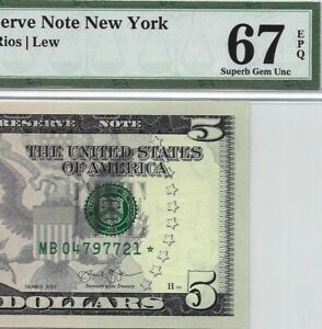 2013 $5 NEW YORK * STAR * 🌟 FRN, PMG SUPERB GEM UNCIRCULATED 67 EPQ BANKNOTE, 1