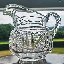 ANTIQUE Anglo Irish Blown Cut Glass Large Georgian Victorian Water Juice Jug 2pt