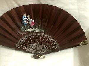 GORGEOUS RUSSIAN LEATHER and SILK HAND PAINTED FAN .SILVER DETAILS