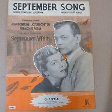 "Hoja de canción canción de septiembre ""asunto"" 1938 de septiembre, J Fontaine J Cotten F Rosay"