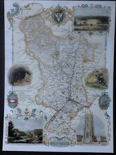 Decorative County Map Derbyshire, Book Plate Print By Thomas Moule 1830 Matlock