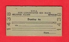 Irish Railway Ticket ~ UTA 2nd Class Single: Dunloy to (Blank) - Closed 1976