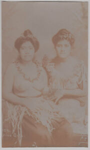 Original vintage 1890s topless native girls SAMOA, Apia