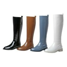 Women Round Toe Patent Leather Low Heel Mid Calf Riding Boots Outdoor 34/42 L