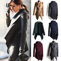 Womens Slim Trench Waterfall Coat Wool Warm Long Outerwear Jacket Parka Overcoat