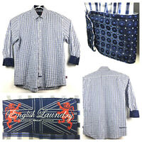 English Laundry Mens 17 34/35 Blue Plaid Cotton Contrast Cuff L/S Dress Shirt
