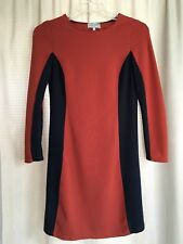 SAHALIE Stretch Ponte Knit Navy & Orange Sheath Dress Women's Size S
