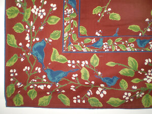 NEW APRIL CORNELL 100% Cotton Sq Kitchen TABLECLOTH Bluebirds Flowers on Brown