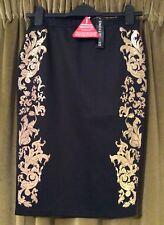🌺 NEW Black Bodycon Tight Tube Skirt Gold Brocade 10 Boho Vintage Indie 🌺