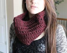 Chunky Burgandy Red Cowl Infinity Scarf Neck Warmer Handmade Crochet Knit