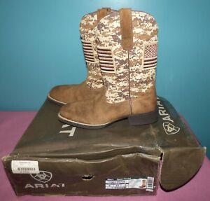 ARIAT Sport Patriot Antique Mocha Suede /Sand Camo Print Square Toe Boots 8 D