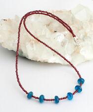 natural granate con Apatita CADENA DE PIEDRA PRECIOSA JOYA Rojo Azul Diseño