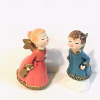 Adorable Vintage Set of Boy Girl Kissing Angels Christmas Decor Made in Japan