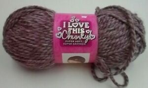 1 Skein I Love This Chunky!  Yarn  Heathered French Lilac color Bulky - 5