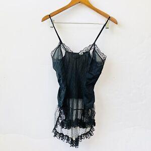 Vintage Sears Black Camisole Cami Slip Lacey Silk Nylon Xsmall Small Sheer
