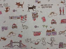 London Cats Buses Trains Linen Look Vintage Curtain Craft Designer Fabric