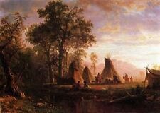 Dream-art Oil painting Tribal People Encampment Late Afternoon sunset canvas 36""