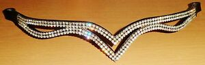 """New Designer Ve Clear Crystal Browband pony Size -14"""" (Black) * Great gift idea"""
